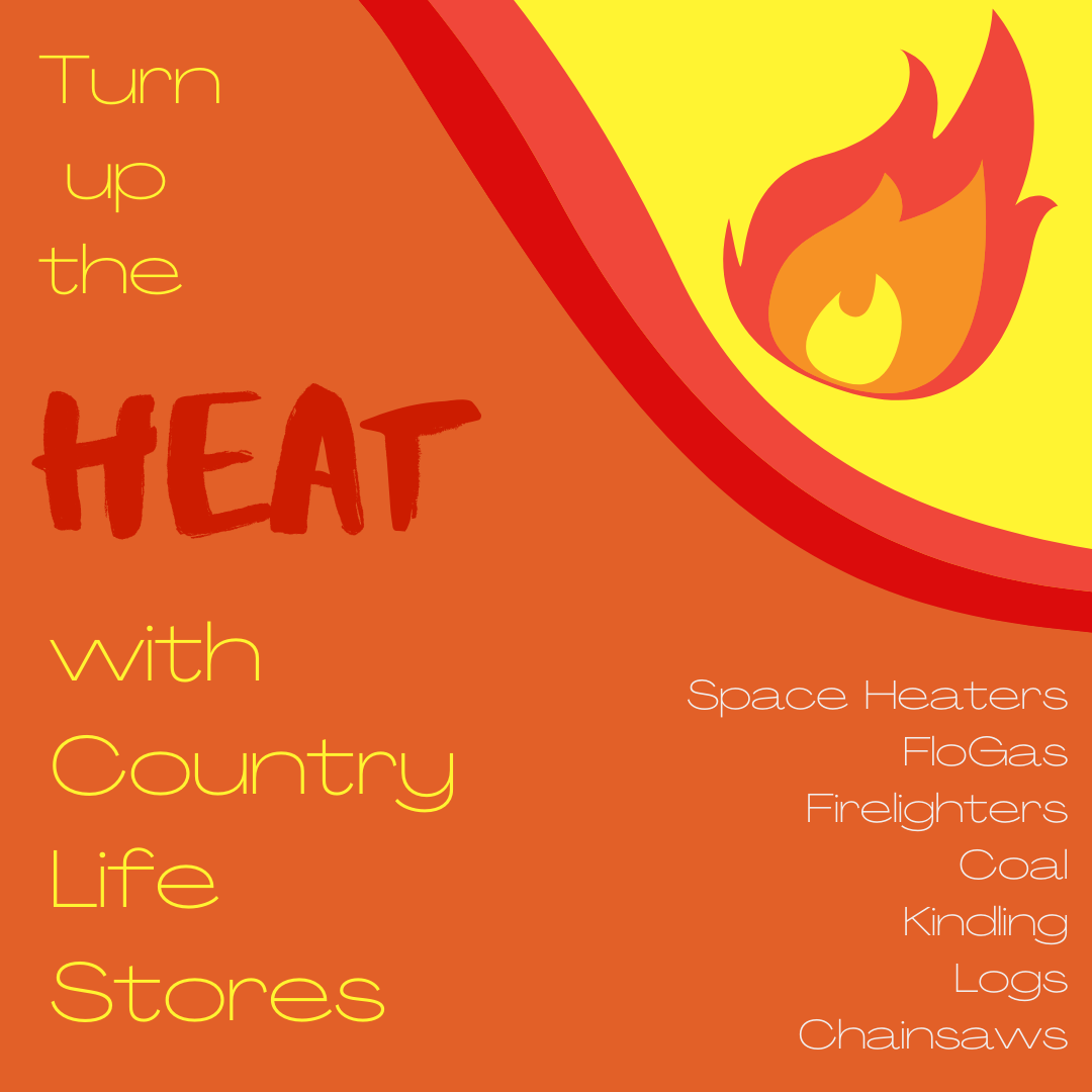 Orange and yellow advert for heating products at Country Life Stores